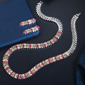 Image 4 - Cwwzircons Exquisite Zirconia Wedding Party Sieraden Set Bladeren Vorm Hoge Kwaliteit Cz Bridal Ketting Earring T075