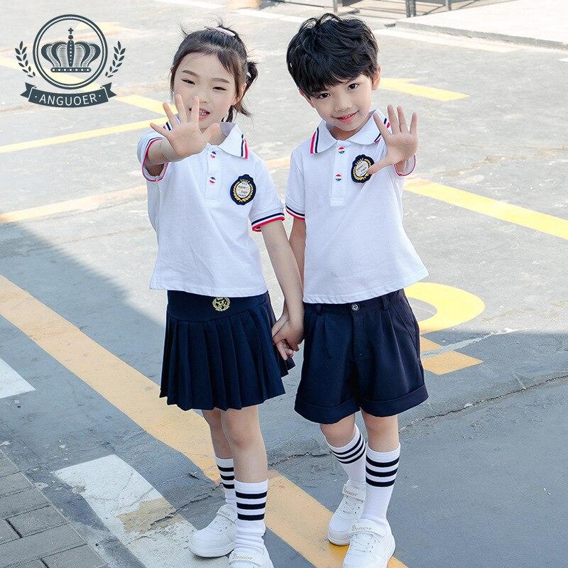 [Ann Fruit] Young STUDENT'S School Uniform White Polo Shirt Set Fashion British Style Kindergarten Suit Summer