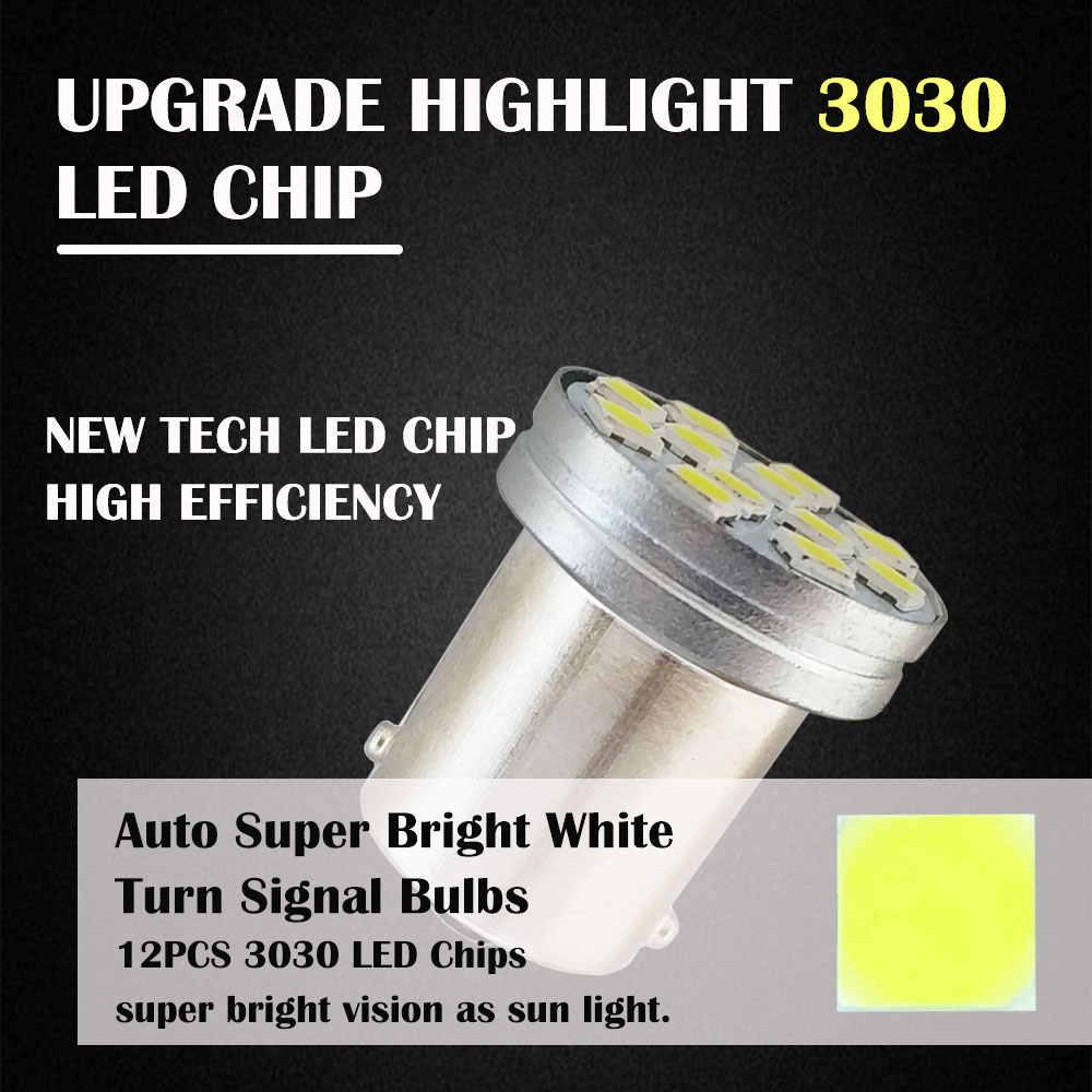 1PCS 1156 BA15S P21W R5W BAU15S PY21W LED 1157 BAY15D P21/5W 12SMD 3030 Car Turn Signal Lights Auto Lamp White Red Amber 12V