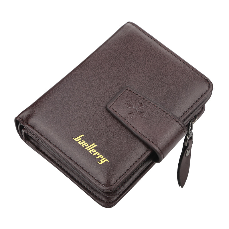 2020 Free Name Engraving Men Wallets Zipper Card Holder High Quality Male Purse New PU Leather Coin Holder Men Wallets Carteria Men Men's Bags Men's Wallets Color: Coffee