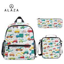 ALAZA Hot kids school bags with bag set 3pcs Cartoon car pri