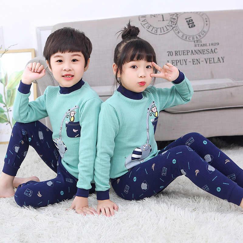 Remaja Anak Musim Dingin Thermal Underwear Set Anak-anak Hangat Tebal Kapas Thermo Pakaian Long Johns Anak Laki-laki Anak Perempuan Pakaian Kostum 10 Y