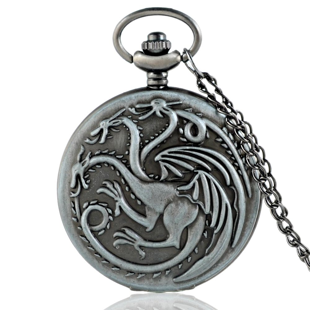 IBEINA New Arrivals Gray Game Of Thrones Quartz Pocket Watch Classic Men Women Dragon Pendant Necklace Clock