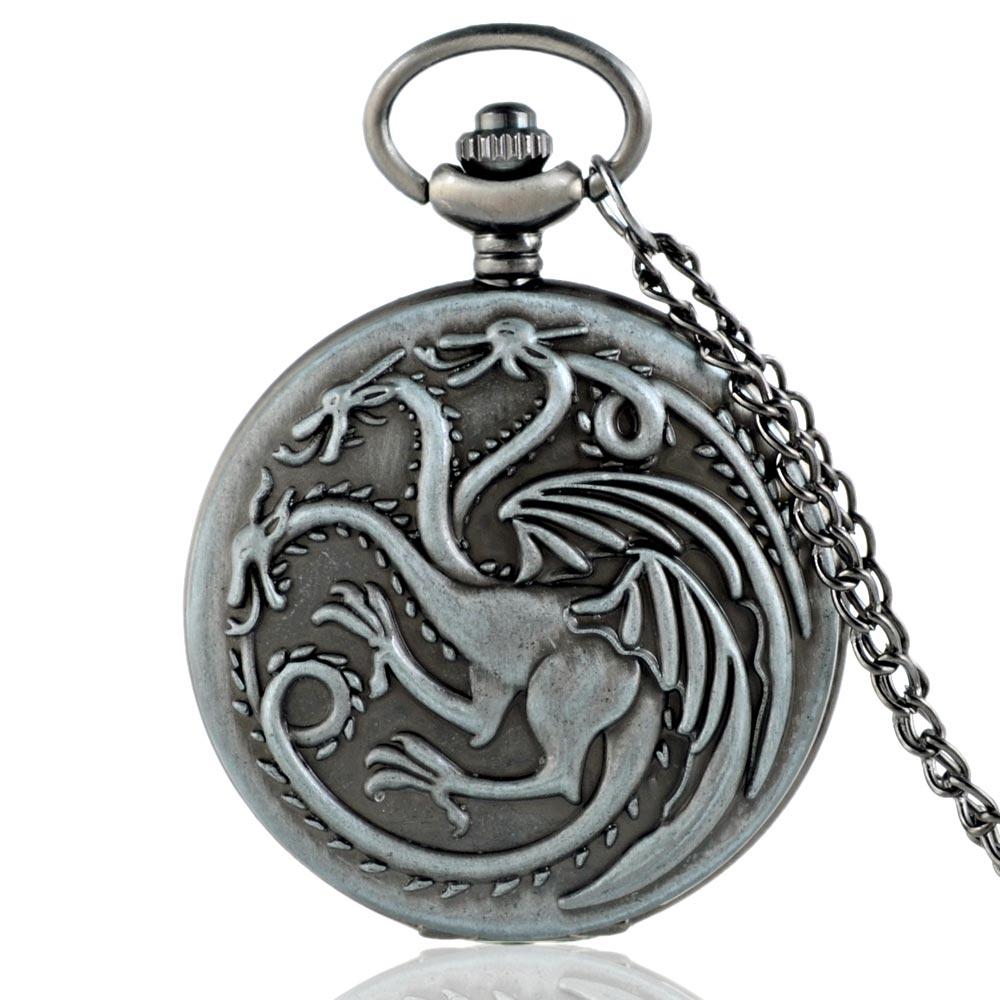 IBEINA New Arrivals Gray Game Of Thrones Quartz Pocket Watch Classic Men Women Dragon Pendant Necklace Clock