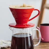 Botique Colorful Coffee Maker Screw Thread Inside Ceramic Coffee Dripper Coffee Brewer Drip Cup for 1 2 People Red|Coffee Filters|Home & Garden -