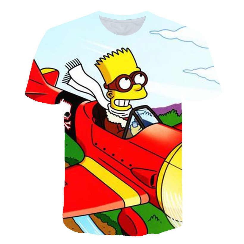 심슨 귀여운 아기 소년 티셔츠 3d 키즈 심슨 남자 재미 있은 티 소년 옷 streetwear 캐주얼 camiseta 소녀 만화 여름 탑스