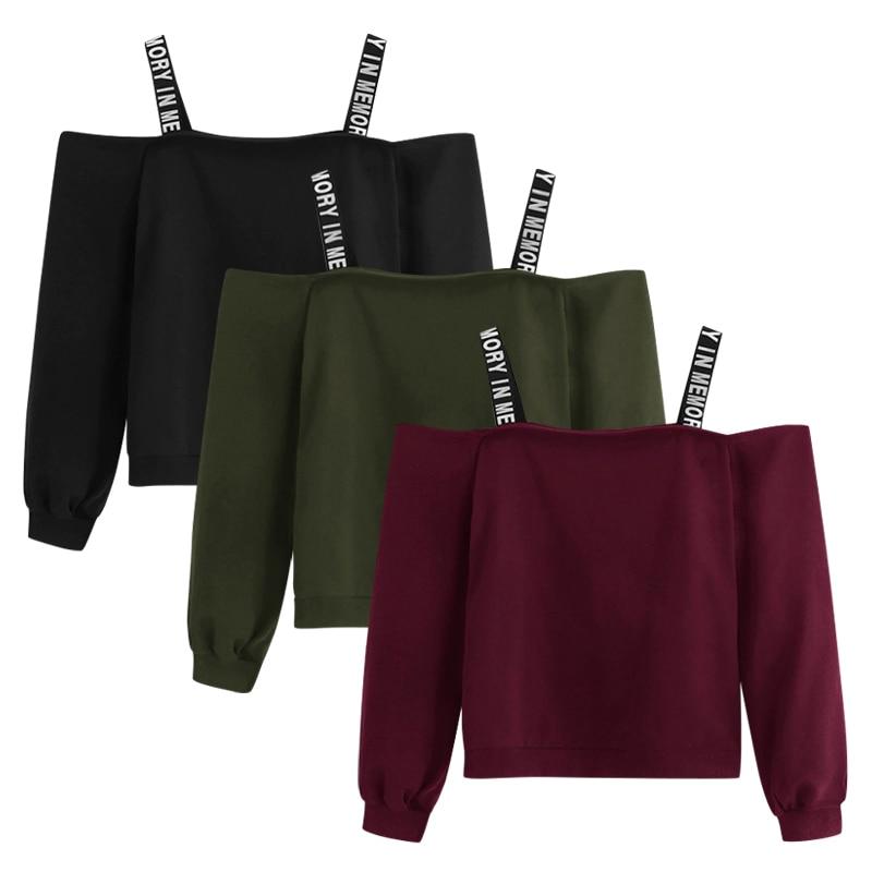 Off Shoulder Sweatshirts Fashion Women Long Sleeve Sweatshirt Letter Print Pullover Tops Blouse Black Hoodies New Dresowa Damska