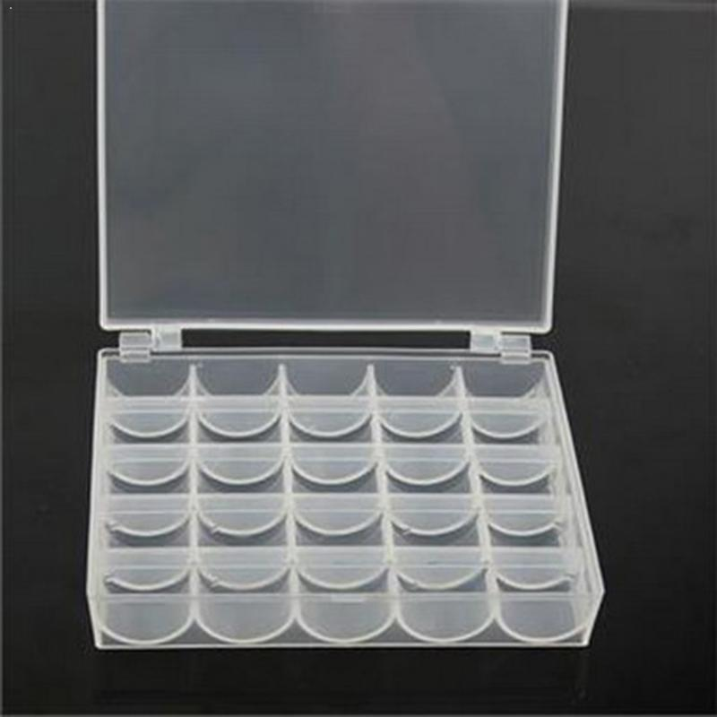 25 Spools Clear Bobbins in Case Organizer Storage Box Holder Sewing Machin PM