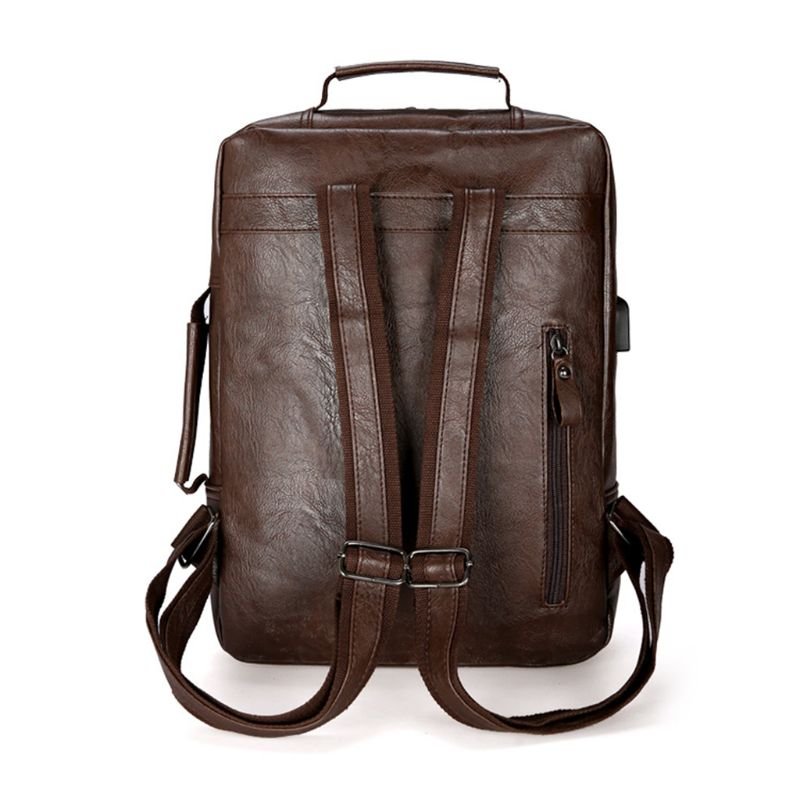 Travel Laptop Multi functional Backpack PU Leather Large Capacity Daypack Teenager Casual Student Bookbag in Backpacks from Luggage Bags