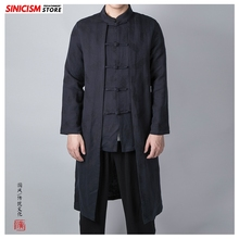 Sinicism Store Mens loose Long Jacquard Trench Jacket Men Chinese Style Buckle