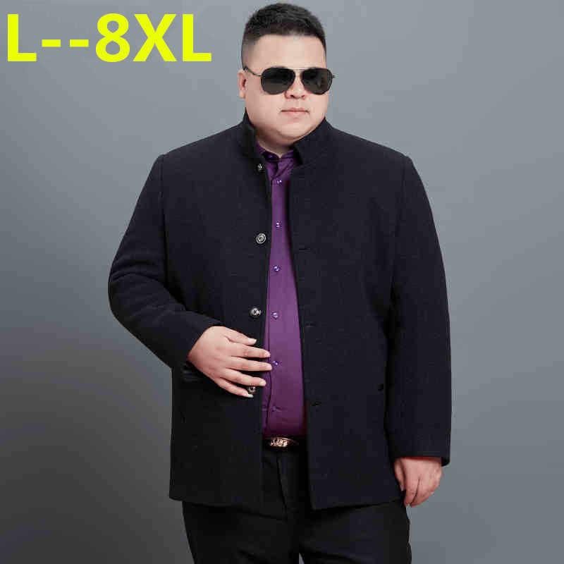 8XL 6XL 겨울 울 재킷 남자의 고품질 모직 코트 캐주얼 비즈니스 남성 트렌치 코트 재킷 남자 만다린 칼라 외투