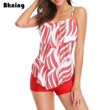 Leaf Print Ruffles Bikinis Set Women Swimsuit High Waist Pants Bathing Suit Plus Size Bikini 2019 Beach 2 Piece Tankini Vintage plus size palm leaf floral print tankini