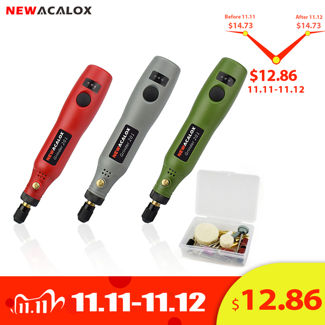 NEWACALOX rectifieuse USB 5V DC 10W Mini sans fil Variable vitesse outils rotatifs Kit perceuse graveur stylo pour fraisage polissage