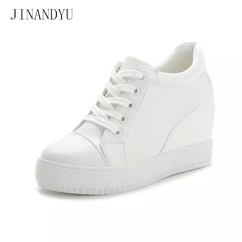 7cm Black White Sneakers Women Casual Shoes Woman Hidden Wedge Heels Platform High Wedges for