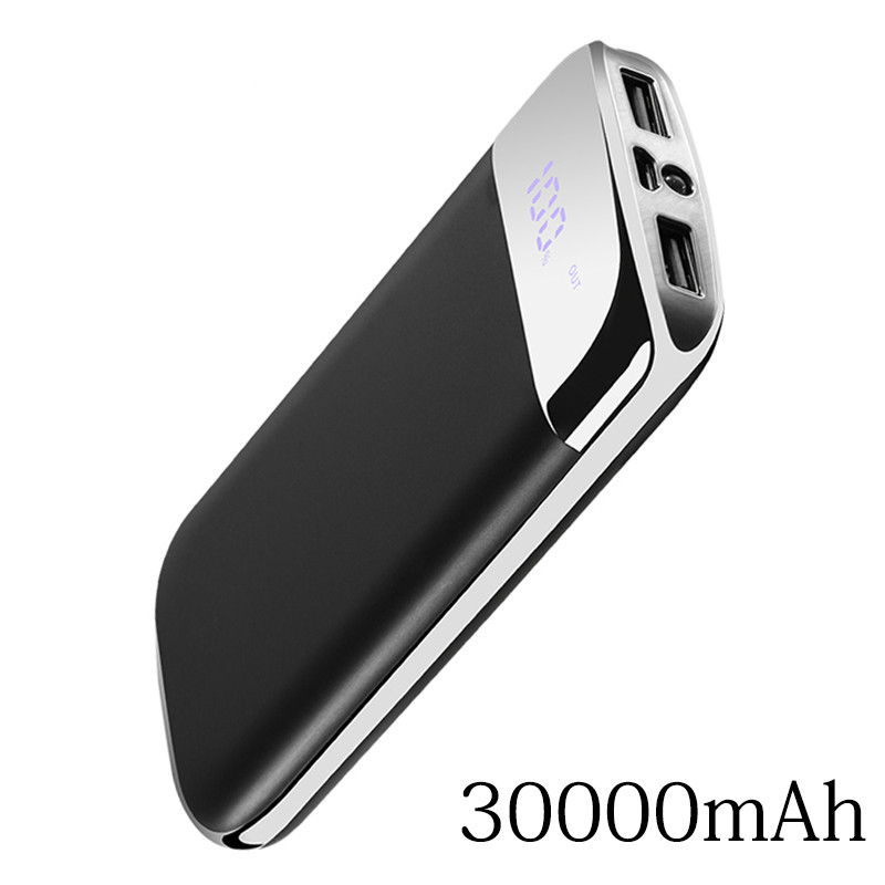 For Xiaomi MI Iphone 6 7 8 X XS 30000mah Power Bank External Battery PoverBank 2 USB LED Powerbank Portable Mobile Phone Charger