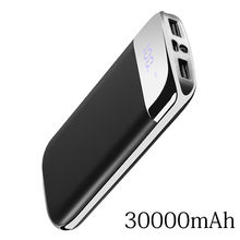 Para Xiao mi mi iphone 6 7 8 X XS PoverBank 2 USB LED Banco do Poder 30000mah Bateria Externa Powerbank Portátil carregador do telefone móvel(China)