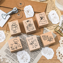Vintage Animal Wooden Stamp Handmade Decal Rubber Stamps for Scrapbooking Photo Decoration Card Diy Stamp Photo Album Craft