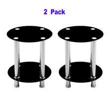 Home Coffee table Black 2-Tier Glass Round End/Lamp Table Clear Glass For Living Room Minimalist Small Desk 2 pack