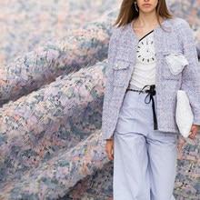 Белая шелковая итальянская розовая фиолетовая твидовая ткань одежда материал Осенняя Женская куртка пальто швейная ткань портняная текст...