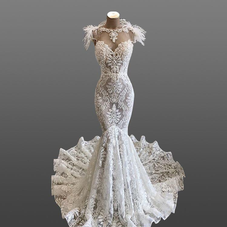 Eslieb Sweetheart Wedding Dress Applique Lace Illusion Feather Lace With Pealrs SJ067