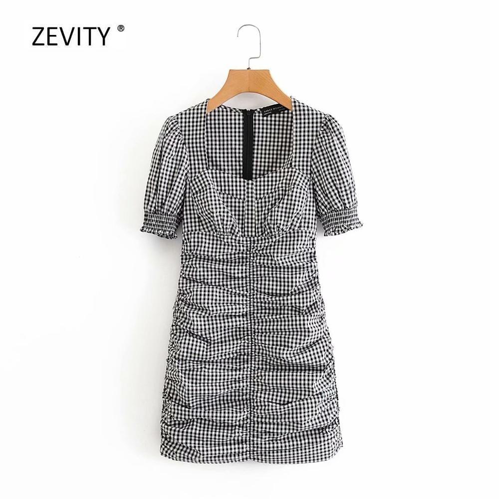 New 2020 women vintage square collar plaid print pleated slim dress female puff sleeve elastic mini dresses chic vestido DS3952