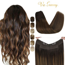 VeSunny Fish Line Halo Extensions 100% Real Human Hair One Piece Invisible Wire Weft Hair With Two Clips Machine made Remy Hair