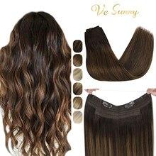 VeSunny Fisch Linie Halo Hair Extensions Echt Menschliches Haar Ein Stück Unsichtbare Draht Schuss Haar Mit Zwei Clips Maschine gemacht remy Haar