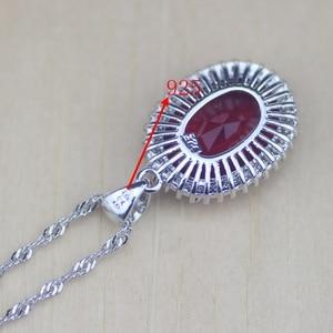 Image 5 - סגלגל אדום CZ לבן זירקון 925 כסף סטרלינג נשים חתונה עגילים/תליון/שרשרת/טבעות/צמיד