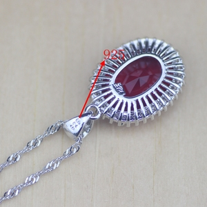 Image 5 - Circonia cúbica roja ovalada, Zirconia blanca, conjuntos de joyería de plata de ley 925 para mujer, pendientes de boda/colgante/Collar/anillos/pulsera