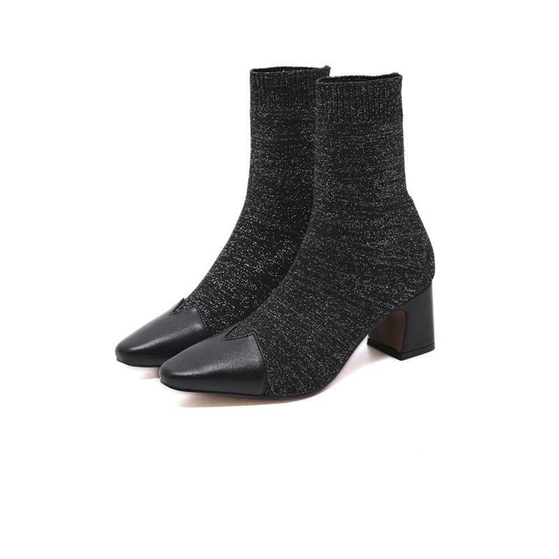 Купить с кэшбэком Stretch Fabric Women's Ankle Boots Fashion Socks Square Toe Solid Color Boots Women Low Heel NIUFUNI Women Shoes Bottes Femme