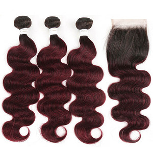Image 3 - 99J/bordowy czerwony kolor korpus fala ludzkich włosów 3 wiązki z zamknięcie koronki 4x4 X TRESS brazylijski nie remy włosy do przedłużania przedłużanie włosów