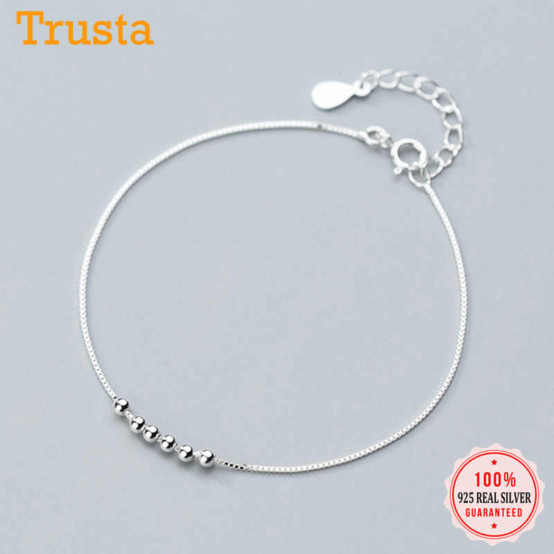 Trusta 100% 925 Solid Real Sterling Silver Jewelry Round Bead Bracelet 17cm For Teen Girls Lady Women Fine Jewelry DS1091