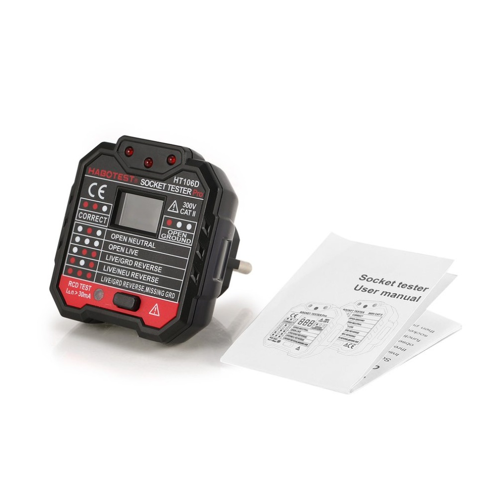 HABOTEST HT106D Socket Testers Voltage Test Socket Detector EU Plug Ground Zero Line Plug Polarity Phase Check
