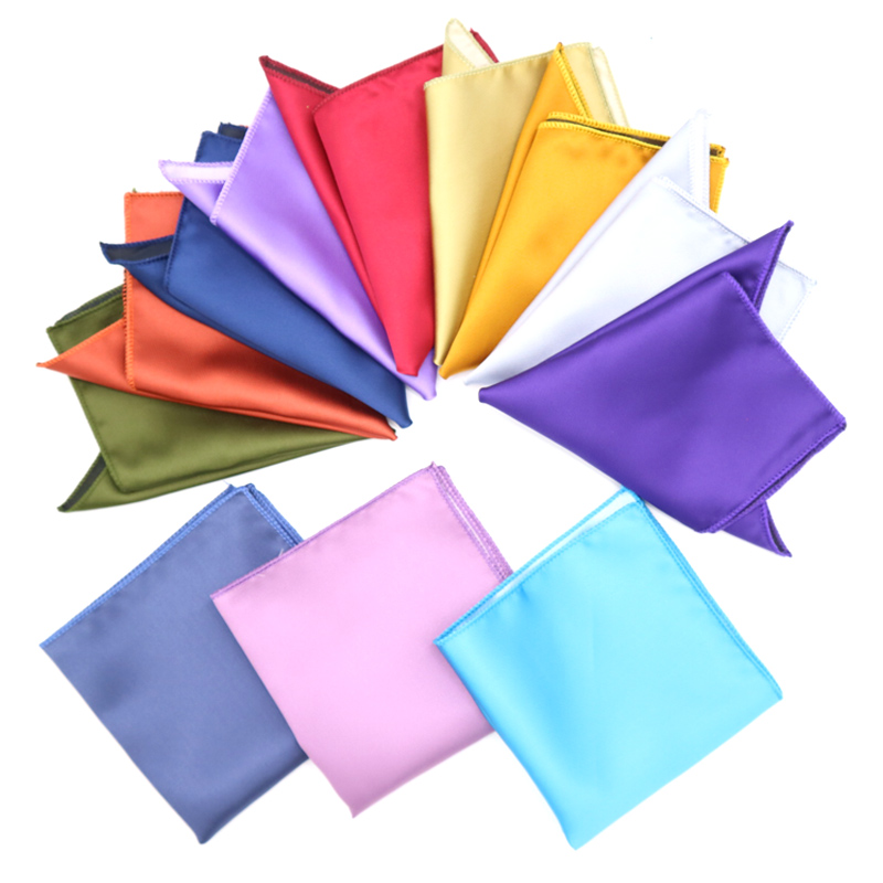 Men's Solid Pocket Square Handkerchief Red Pink Blue Hanky Men Suit Chest Towel Accessories For Business Wedding Party Gift