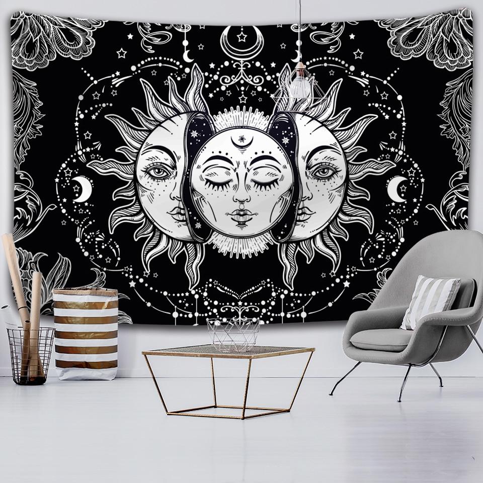 Tapiz de Mandala de Luna y sol blanco y negro, tapiz de brujería para colgar en la pared, tapiz Hippie, alfombras de pared, tapiz psicodélico para decoración de dormitorio