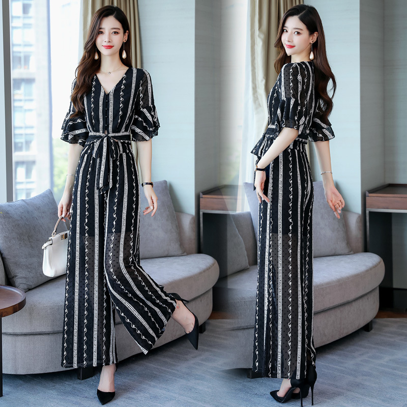 Goddess-Style Loose Pants WOMEN'S Suit Summer 2019 New Style Fashion Graceful Elegant Slimming Chiffon Two-Piece Set Fashion