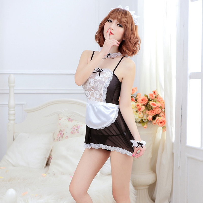 Maid Uniform Costumes Role Play Women Sexy Lingerie Hot Sexy Underwear Lovely Female White Lace Erotic Costume Babydoll Chemise 5