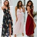 Женское длинное платье-макси в стиле бохо, с цветочным принтом и открытой спиной, вечерние пляжные платья, праздничный Сарафан