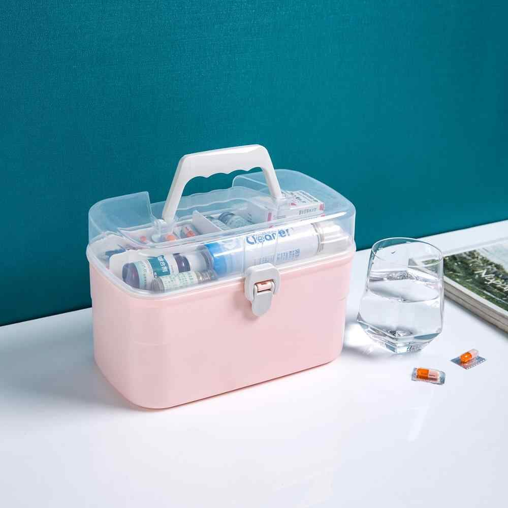 Medis Portabel Kit Double-Layer Kotak Obat Keluarga Kapasitas Besar Pertolongan Pertama Kotak Obat Pil Kotak Penyimpanan