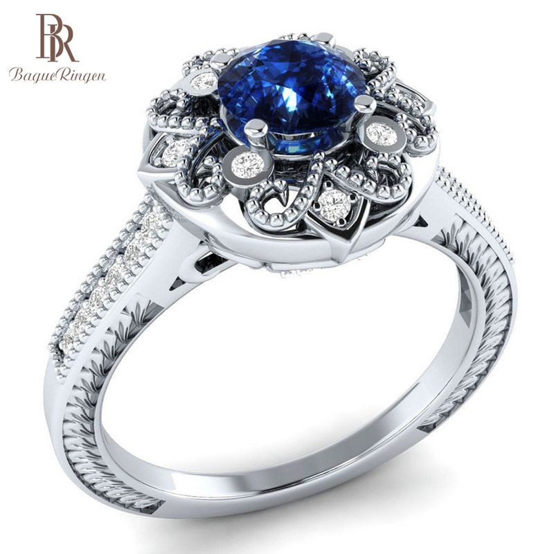 Bague Ringen Creative Flower Modeling Simple Silver 925 Jewelry Lady Ring With Sapphire Ziron Engagement Anniversary Dating