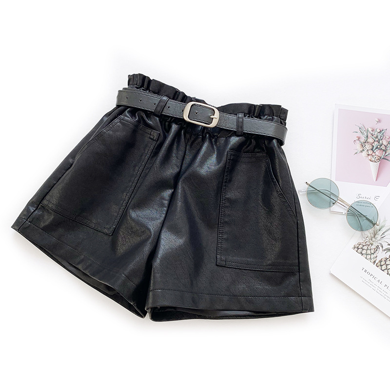Autumn Winter Candy Color Ruffles High Waist Faux Leather Shorts Women's PU Leather Casual Wide Leg Pants Short Mujer