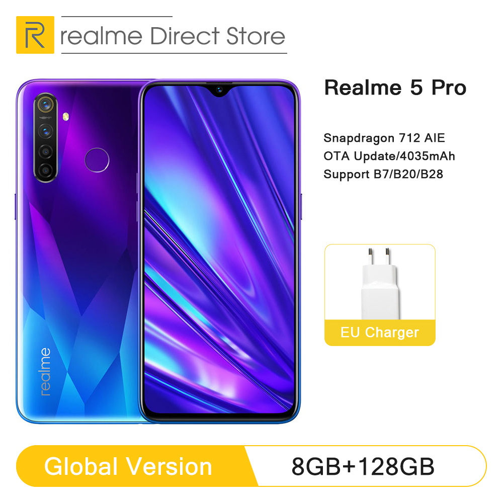 Global Version realme 5 Pro 4GB RAM 128GB Mobile Phone Snapdragon 712AIE 48MP Quad Camera Smartphone 4035mAh Fast Charger(China)