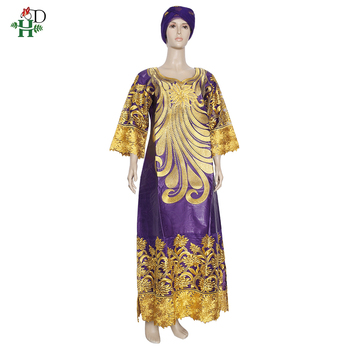 H&D Bazin Riche Dashiki Dress Women Embroidery Flowers Lace Dresses Boubou African Dress Headtie Two Piece Set Wedding Clothes