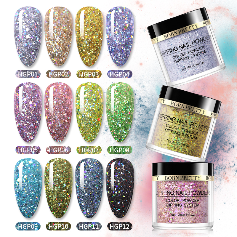 BORN PRETTY Dipping Nail Powder Holographics Nail Pigment Dust Power Natural Dry Without Cure Nail Art Decorations Glitter