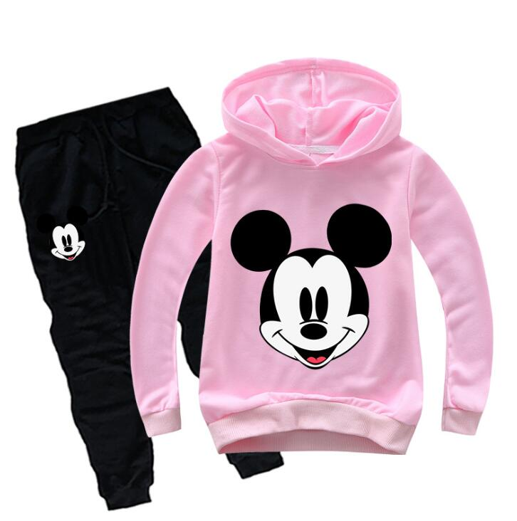 Kids Cartoon Sport Suits Hoodies Top+Pants 2Pcs Set Mickey Baby Boys Clothing Set Children Minnie Suit Minnie Girls Tracksuits