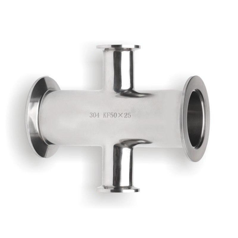 Vacuum Clamp Reducer Four Way Pipe Fitting Cross Clamp Sanitary SUS304 KF KF25x16 KF40x25