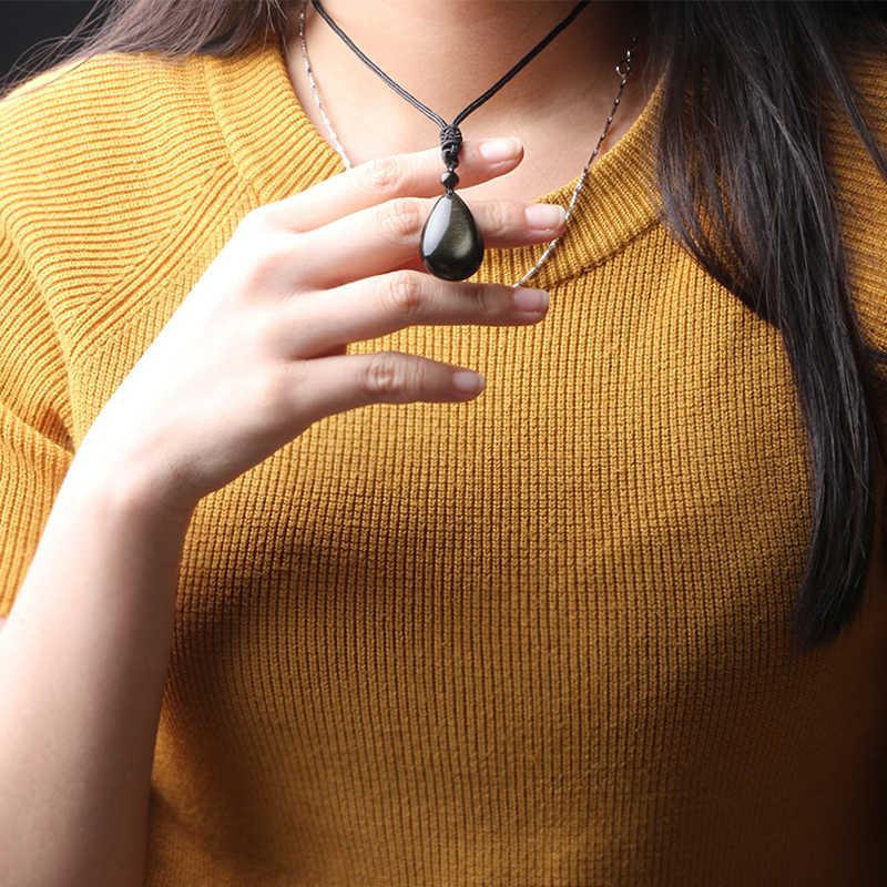 دلاية مجوهرات الحجر الطبيعي الذهب قطرات الماء سبج سلسلة بدلاية الأزياء قلادة سحر الذكور للنساء محظوظ والشر