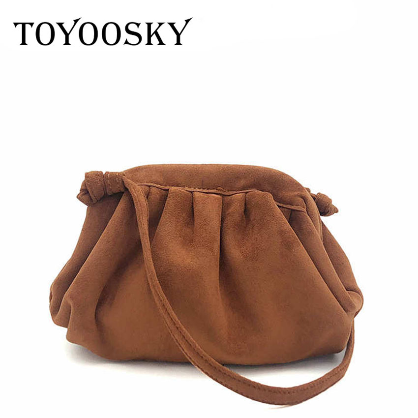 TOYOOSKY Fashion Luxury Women's Suede Handbags Clutch Designer Cloud Pack Solid Color Shoulder Female Dumplings Messenger Bag