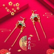 National Style Water Drop Pendant Earrings Heart Water Drops Delicate Geometric Pattern Earrings Women's Classical Accessories