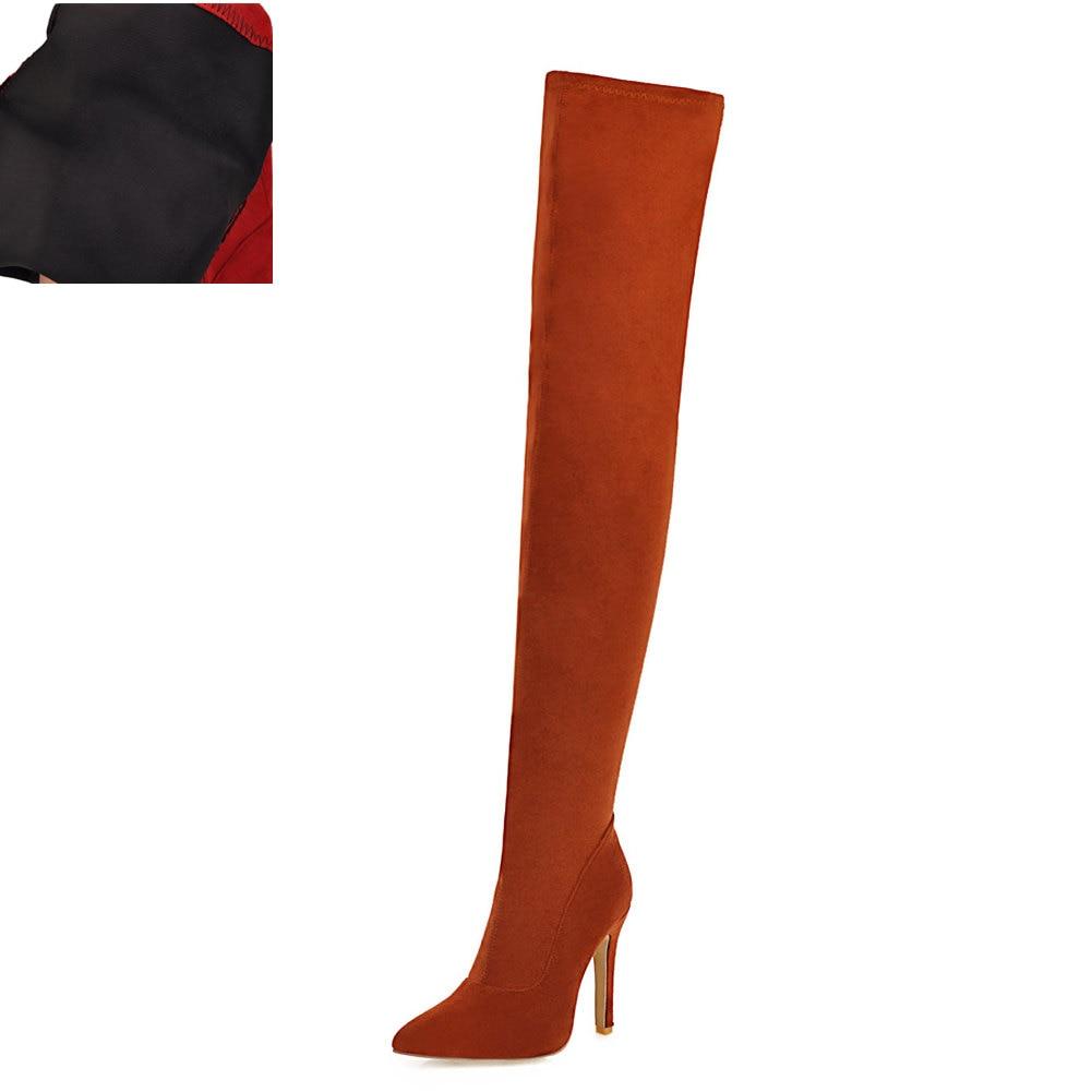 Новая Брендовая женская обувь женские ботфорты выше колена, большие размеры 32-48 пикантные вечерние сапоги на тонком высоком каблуке Женская обувь - Цвет: Brown without plush
